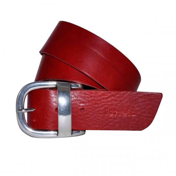 Ceinture cuir rouge femme- Fabrication française - Isheis 6ed4e9f7638